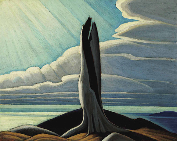 "Lawren Harris, ""The Old Stump, Lake Superior,"" 1926; oil on board, 30.5 cm by 38.1 cm"