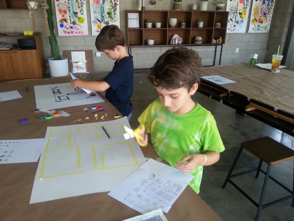 Theo Marsh and Ethan Iyer taking a children's art class at The Cool School Los Angeles, Atwater Village, Los Angeles