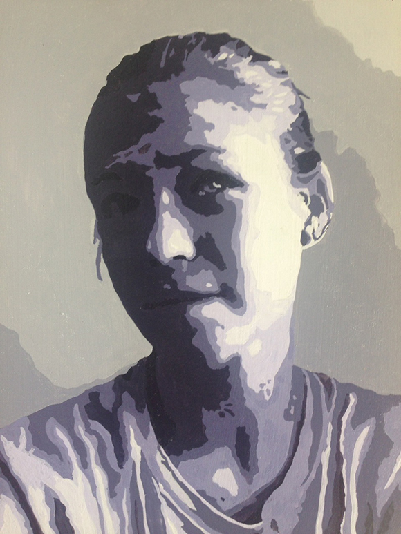 Self-Portrait by teenage student Gabi vanderVelde-Kraft, 2014, gouache on panel, monochromatic self-portrait, 9x12