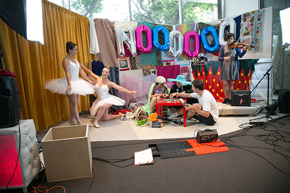 """Noooooooooooooooooooooooooooooooo TV,""  in Collaboration with Guan Rong, with Chelsea Zeffiro, Rebecca Correia, and Pauline Lay, Performance view, Hammer Museum, Los Angeles, June 21, 2014. 