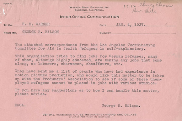 January,1937 George R. Bilson's correspondence with Harry Warner requesting aid to Jewish refugees. | Courtesy of the USC Libraries - Jack L. Warner Collection.