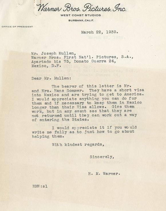 March,1939 Harry Warner letter regarding Mr & Mrs. Hans Sommer's visas<br /> Courtesy of the USC Libraries -- Jack L. Warner  Collection.