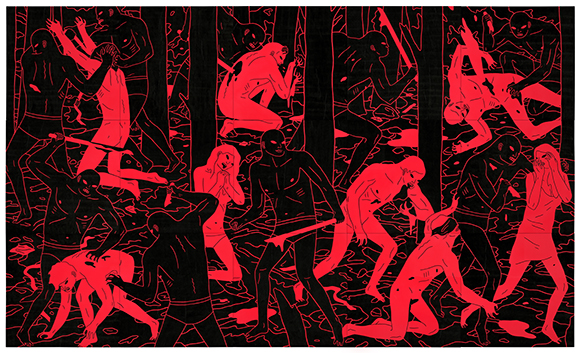 "Cleon Peterson, ""Glory,"" 150 x 90"" Acrylic on wood panel, 15 pcs"