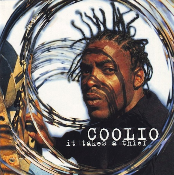 "Miller first met Coolio through rapper WC and Warner Bros. hired him to shoot the cover for Coolio's debut album. LP cover for Coolio's ""It Takes a Thief"" (Warner Bros., 1994) 