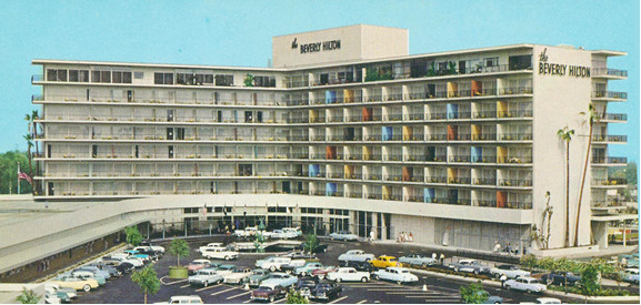 Historic postcard image of the Beverly Hilton.