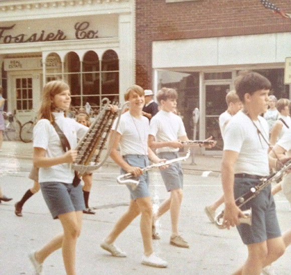 David Bohnett in a marching band.