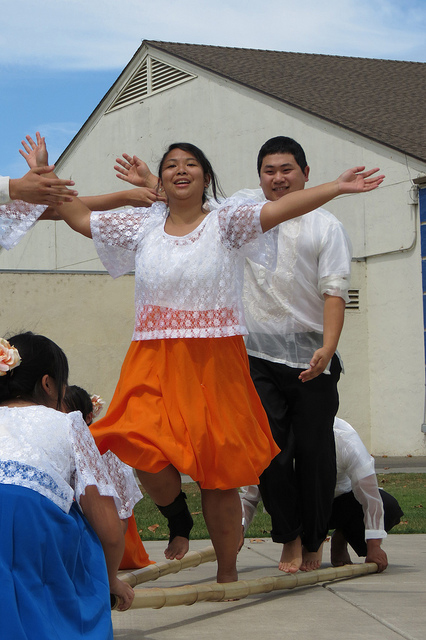 Cal Poly Pilipino Cultural Exchange dancers perform at the Loonanon Pioneers Reunion BBQ in Santa Maria, CA.   Photo: Catherine Trujillo.