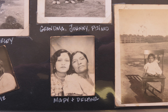 Mary Olvera and mother Delfina. From the family scrapbook of Rosalie Salutan Marquez.   Photo: Catherine Trujillo.