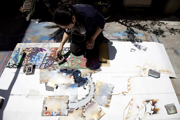 Gajin Fujita, preparing for his 2011 exhibition at LA Louver