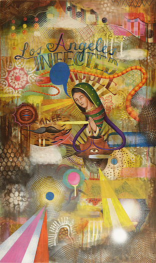"GERMS, ""Mamacita,"" acrylic on wood, 16"" x 26"", 2012."