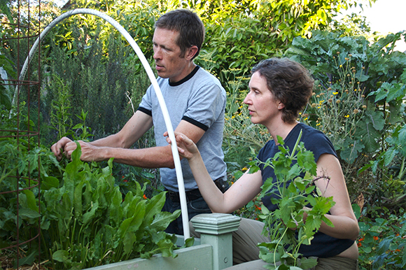 Erik Knutzen and Kelly Coyne in their backyard garden. | Photo: Root Simple.