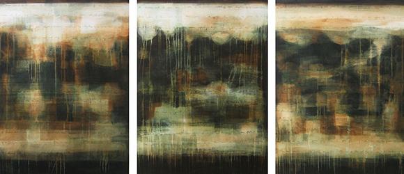 "Julie Montgomery, ""Mariposa Green,"" Acrylic on canvas 54"" x 120"" triptych"