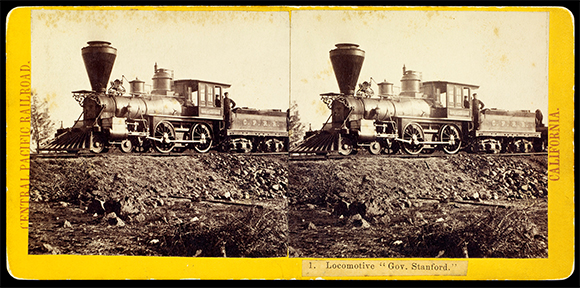 Alfred A. Hart (1816-1908), Central Pacific Railroad locomotive, ca. 1865, albumen stereographic print. The Huntington Library, Art Collections, and Botanical Gardens.