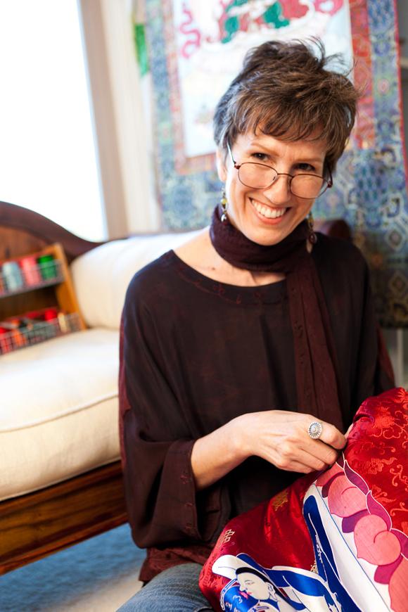 Leslie Rinchen-Wongmo Stitching in her Studio in Ventura.