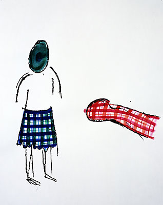 "Mike Kelley, ""Plaid Dialogue "" 1997, mixed media on paper 66 x 50.8 cm, Eileen and Michael Cohen Collection 