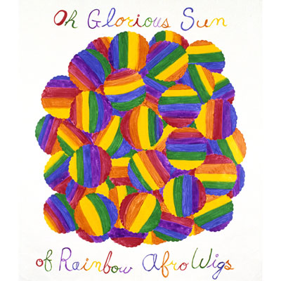 """Mike Kelley, """"Rainbow Coalition"""" 1985, acrylic on unstretched canvas 259.08 x 223.52 cm, Courtesy David Zwirner, 