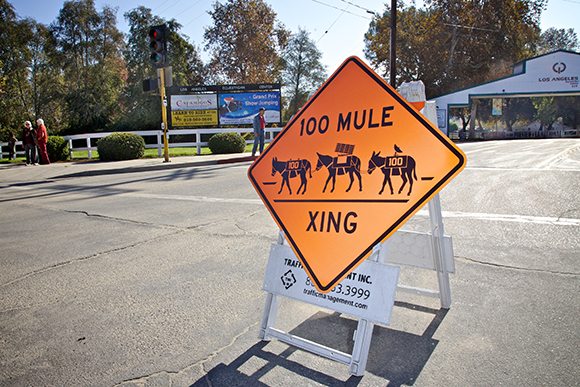Mule Crossing sign at the L.A. Equestrian Center announces the art action end. | Photo: Osceola Refetoff