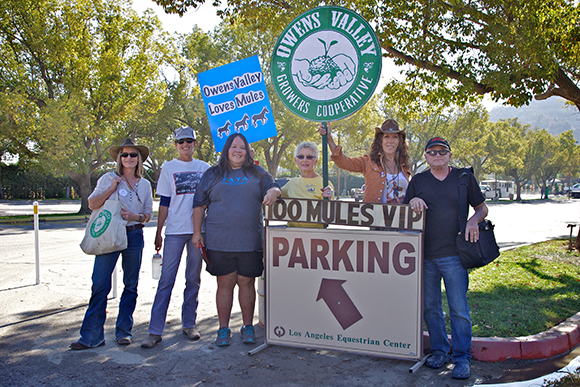 Lone Pine and Independence residents greet the mules (L to R) Jane MacDonald, Julie Fought, Kathy Bancroft, Bevery Vanderwall, Judyth Greenburgh and Chris Langley | Photo: Osceola Refetoff