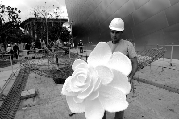 "The beginnings of Walt Disney Concert Hall fountain ""A Rose for Lilly."" 