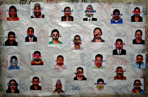 """""""75 Districts of Contemporary Nepal"""" from the series 1,300 Contemporary Nepalese Portraits by Hit Man Gurung, 2013, mixed media. 