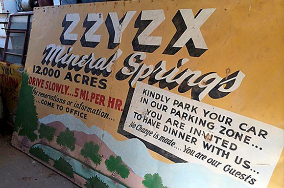 The original Zzyzx Mineral Springs sign beckoned highway passerby to its oasis. | Photo: Aurora Tang.