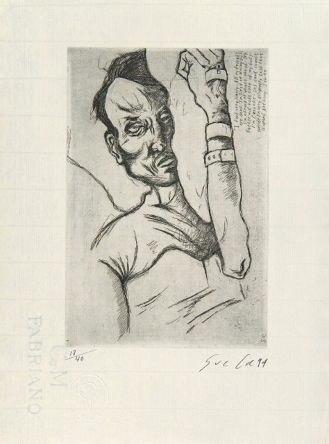 Sue Coe, &quot;Anthony,&quot; 1994, 13 x 9 1⁄2 in.Line etching on paper. Pomona College Collection. Museum purchase with funds provided by the Estate of Walter and <br /> Elise Mosher.