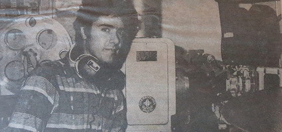 Jim Dee in the projection booth at the Rainbow, his first art house venture, in 1986. | Courtesy Dee Family Archive