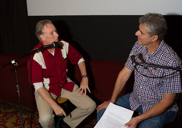 "Bob Whiteford and Jim Dee at a recent ""Take Two Live"" which takes place at the Palm Theatre in San Luis Obispo 