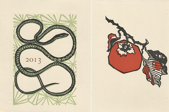 LEFT: Cover Image of a Snake for her 2013 Calendar, by Patricia Wakida,  linoleum print on Fabriano cotton rag paper, 2012, RIGHT: Persimmon for October, 2013 Calendar, by Patricia Wakids, linoleum print on Fabriano cotton rag paper, 2012.