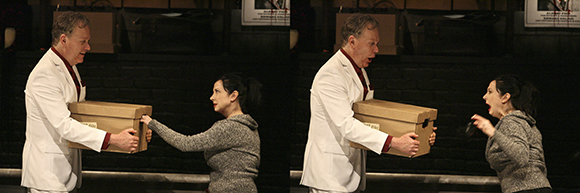 Todd Robbins invites a member of the audience to stick her hand into a box full of evil during Play Dead at the Geffen Playhouse. | Photo: Michael Lamont<br />