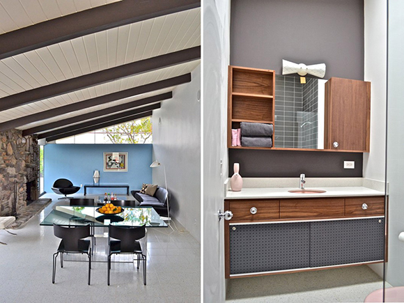 Left: Restored Living Room. Right: Reconstructed Walnut Bathroom Cabinetry | Photos: Hank Connell.