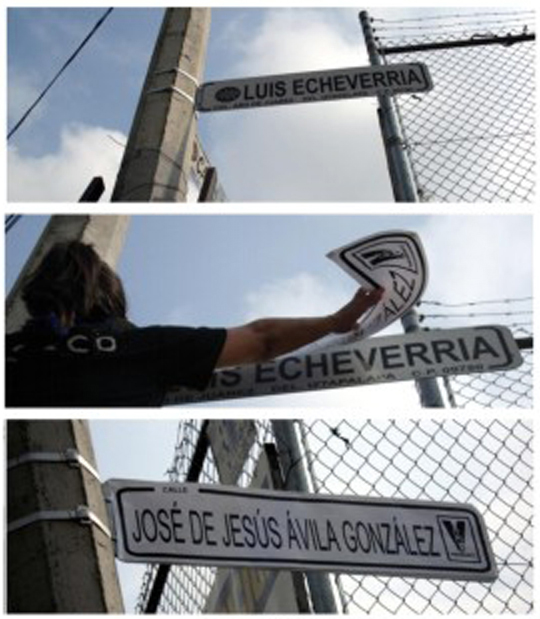 Edith López replaced street signs with names of people gone missing