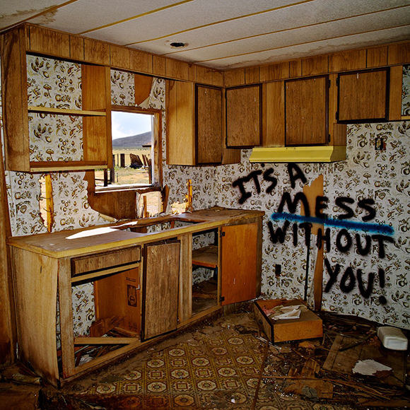 """It's a Mess Without You!,"" Cinco, CA, 2011. Abandoned farm worker's trailer, now demolished. Currently construction site for Beacon Solar Energy Project. 