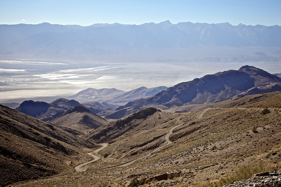 The old Yellow Grade Road (dust storm on Owens Lake below) - Cerro Gordo, CA - 2014 | Photo: Osceola Refetoff