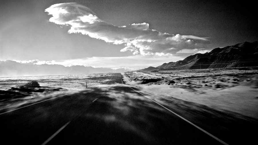 Wind Blown Sand - Infrared Exposure - Highway 136 North of Keeler, CA - 2013   Photo: Osceola Refetoff