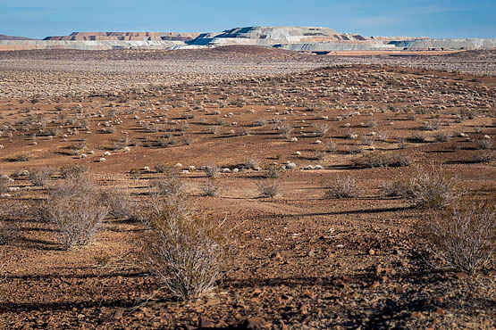 View of Rio Tinto mining tailings from Rock Hill chalcedony collection site. | Photo © Kim Stringfellow.