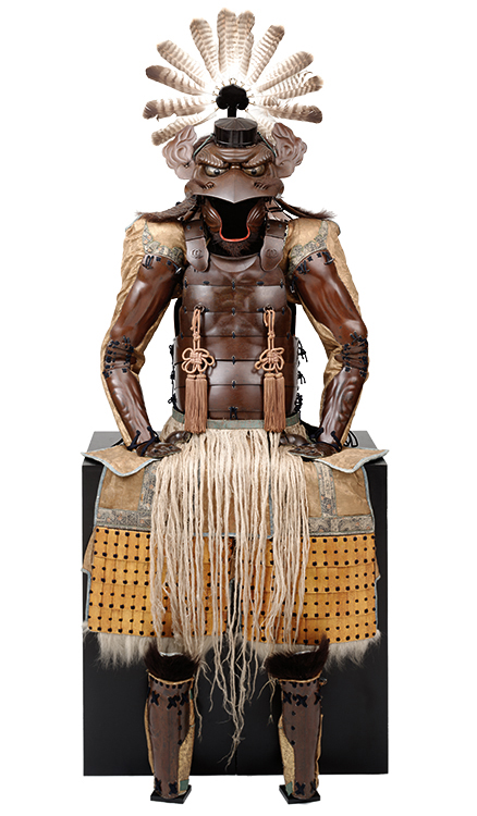"""""""Armor with the Features of a Tengu,"""" Japan, Late Edo period, 1854; iron, lacquer vegetable fiber, bear fur, leather, feathers and fabric; Photograph Brad Flowers; Copyright The Ann & Gabriel Barbier-Mueller Museum, Dallas"""