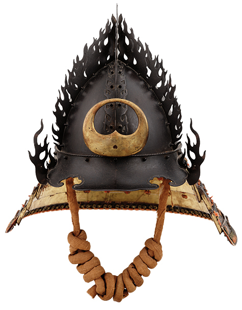 """Flame Helmet Representing the Flaming Jewel,"" Japan, early Edo period, c.1630; iron, lacquer, lacing, gold and bronze; Photograph by Brad Flowers; Copyright The Ann & Gabriel Barbier-Mueller Museum, Dallas"