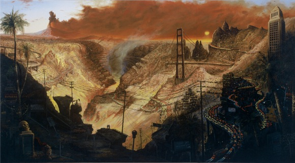'Inferno'. Sandow Birk, 2003. Oil on Canvas, 72' x 120'. Courtesy of Koplin del Rio Gallery.