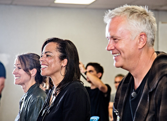 Sabra Williams, Director of the Prison Project and Tim Robbins, Artistic Director of the Actors' Gang. Theater Workshop at the California Rahabilitation Center: Norco | Photo: Peter Merts