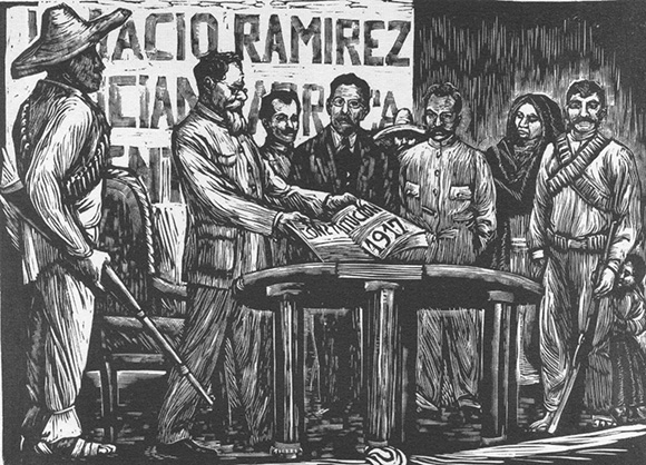 """Constitución del 17"" by Elena Huerta, ca. 1935. Relief print. | Courtesy Of University Of Notre Dame, Snite Museum Of Art."