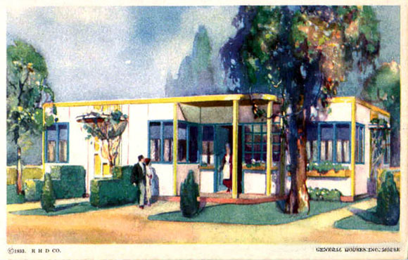 This historic postcard photo of a steel house at the Chicago World's Fair bears a strong resemblance to Palm Springs' Lindop Residence.