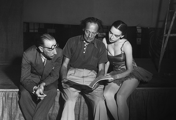 Left to right: Igor Stravinsky, Adolph Bolm and Nana Gollner. | Otto Rothschild Collection/The Music Center Archives.