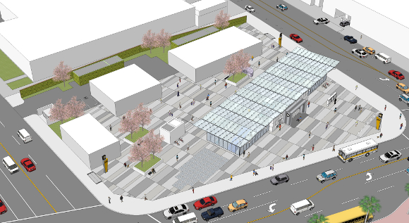 Design for Metro Regional Connector Station at 1st and Central by Ted Tokio Tanaka | Courtesy of Ted Tokio Tanaka Architects.