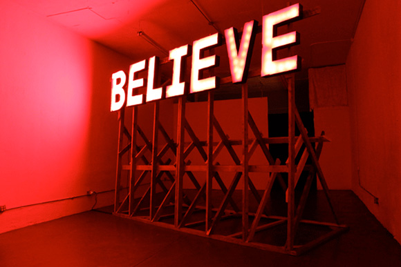"The Free Church of Public Fiction ""Believe"" by Jason Manley."