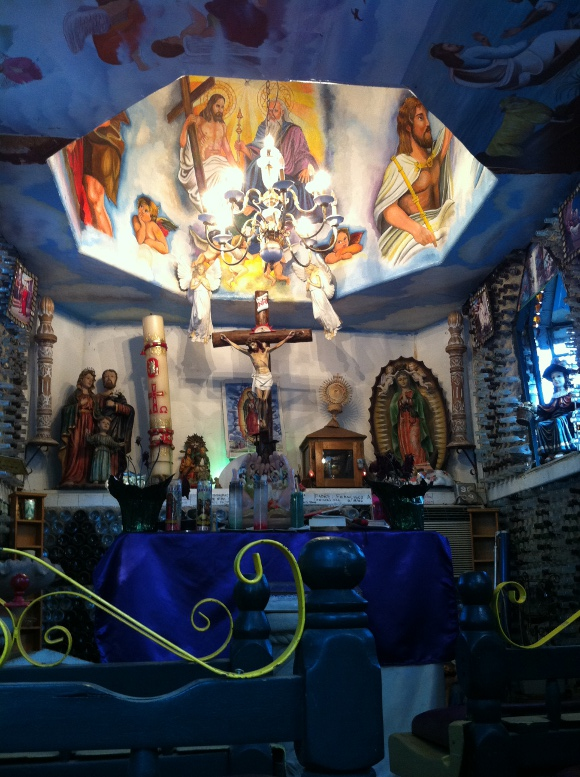 Tio's chapel composed of bottles and other recycled materials.