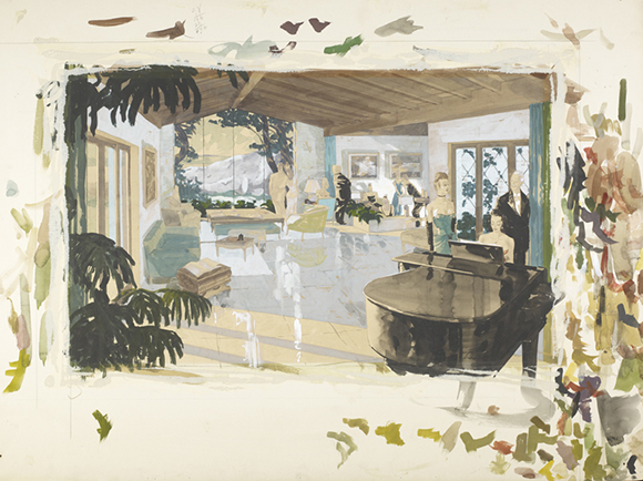 [Figure 5. Chris Choate was blending colors directly on the cardboard on which he drew the Blow residence.] | Courtesy of the USC Libraries' Helen Topping Architecture and Fine Arts Library.