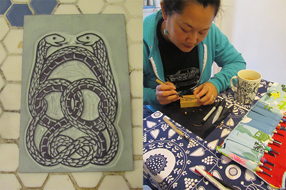 LEFT: Linoleum Block Carved with Two Snakes for New Year's Card by Patricia Wakida, 2012, RIGHT: Patricia Wakida carving Woodblocks, 2012.