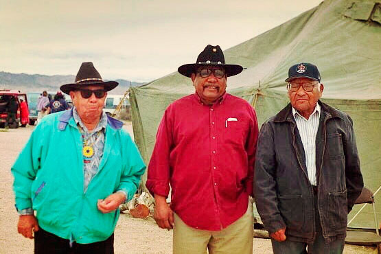 L to R: Corbin Harney, Western Shoshone, Shundahai Network; Wally Antone, Tribal liaison for Save Ward Valley Coalition, Quechan; Llewellyn Barrackman, Fort Mojave Indian Tribe. | Photo: Molly P. Johnson.