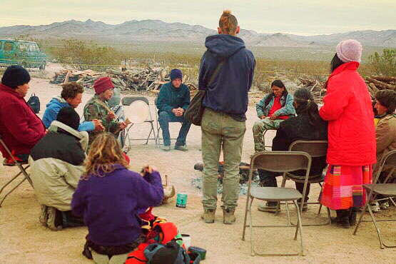 A group of activists occupying Ward Valley camp in 1998. | Photo: Molly P. Johnson.